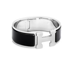 Clic-Clac H Hermes wide bracelet Black enamelSilver and palladium plated  hardware, diameter, circumference, wide Black Enamel, . a1913ebb4b4