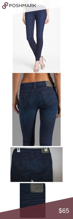 """💋TRUE RELIGION Halle highrise super skinny😍 These are in great condition😍AUTHENTIC Worn. once no offers  the inseam is 30 inches, 8.5 rise, 74% cotton, 24%poly 2%spandex 13"""" in the knee narrows 10"""" at the leg opening faux front pockets style # TRUE-WJ2190😍 True Religion Jeans Skinny"""
