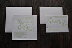 green wedding invitations, letterpress