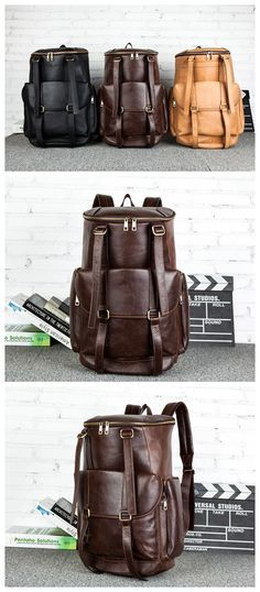 Vintage Leather Backpack College Backpack School Backpack