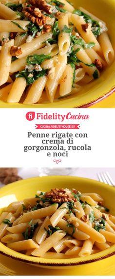 Penne rigate con crema di gorgonzola, rucola e noci