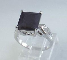 Ladies Square Black Onyx CZ 18K White Gold Overlay Ring~Size 7-Free Gift Box