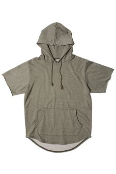 Olive French Terry Short Sleeve Curved Hem Hoodie