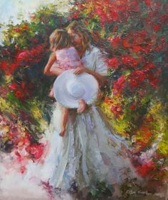 Robert Krogle: Embraced By Garden Colors Robert Duncan Art, Different Forms Of Art, Tomorrow Is Another Day, I Believe In Pink, Thomas Kinkade, Colorful Garden, Creative Portraits, Mother And Child, Figurative Art