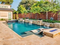 Porches and Patios and Pools Geometric Pool Builder Dallas Backyard Pool Landscaping, Backyard Pool Designs, Small Backyard Pools, Small Pools, Swimming Pools Backyard, Pool Spa, Swimming Pool Designs, Outdoor Pool, Backyard Ideas