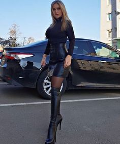 Beauty in hot boots 👅🔥 # Black Leather Skirts, Leather Skirt Outfits, Leather Boots, Skirts With Boots, Sexy Boots, Sexy Skirt, Leather Fashion, Sexy Outfits, Womens Fashion