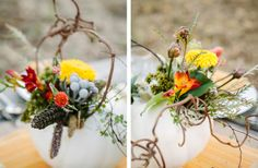 Fall Harvest Tablescape: flower arrangements in pumpkins!