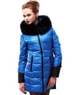 Maxchic Women's Zippered Cuff Fox Fur Trim Down Parka Coat with Hood D04276Y12C,Blue,Medium