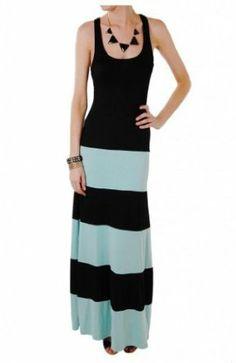 Humble Chic NY Women's Colorblock Maxi - Jersey Tank Dress Black, Turquoise, Jade
