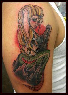 Pin Up Mermaid Tattoo - Eric Kuiken #mermaid http://pinupgirlstattoos.com/pin-up-mermaid-tattoo-2/