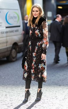 Olivia Palermo is embroidered duster at fashion week 2017. See more at www.HerStyledView.com