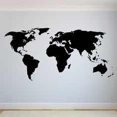 See the world at large with our World Map wall decal! Select the size and color that best fits your needs. **Keep in mind sizes are close approximations.** Bring your walls to life with our removable