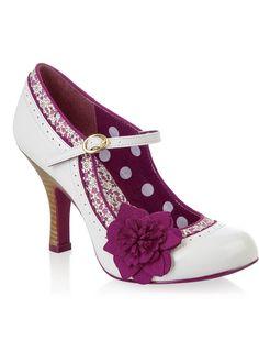 Ruby Shoo Poppy Pumps Floral Ivoor