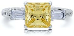 #Berricle                 #ring                     #Sterling #Silver #Princess #Canary #Cubic #Zirconia #Ring ##r554             Sterling Silver 925 Princess Cut Canary Cubic Zirconia CZ Ring #r554                                    http://www.seapai.com/product.aspx?PID=1263597