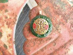 vintage button pendant colorful Victorian by Suddendeersighting, $21.00