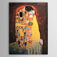 Hand-painted Oil Painting - The Kiss by Gustav Klimt with Stretched Frame