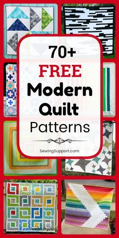 Free Quilt Patterns for Modern Quilts. Over 70 free modern quilt patterns, tutorials, and diy projects, including simple and easy designs for beginners. Get ideas and inspiration for your next quilting project. Modern Quilting Designs, Modern Quilt Patterns, Sewing Patterns Free, Free Pattern, Quilting Tutorials, Quilting Projects, Quilting Ideas, Sewing Projects, Nine Patch