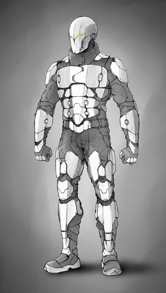 Here is a fast sketch done for one future project.It should consist of three futuristic looking armors. This is the first one in a row. Idea is to make those armors as low poly game assets and also ready for high quality render.