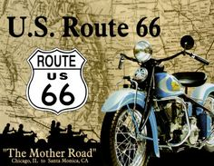 Classic Tin Signs US Route 66 The Mother Road Chicago to Santa Monica Route 66 Map, Route 66 Road Trip, Road Trips, Tin Signs, Metal Signs, Wall Decor Pictures, Art Pictures, Santa Monica, Vintage Posters