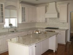 Beautiful Mother Of Pearl Tile For Home Improvement: White Granite  Countertops And Mother Of Pearl Tile For Seashell Backsplash With White  Kitchen Cabinet ...