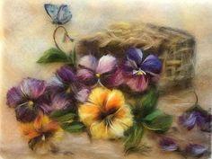 Купить Картина из шерсти Анютки для моей Анютки. - фиолетовый, картина из шерсти, картина с цветами
