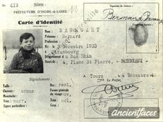 Bernard Baumgart Identification Card - Nationality: French - Background: Jewish - Residence: Strasbourg, Departement France - Death: September 1942 - Cause: Murdered in Auschwitz (buried in Auschwitz death camp) - Age: 8 years Lest We Forget, Precious Children, Anne Frank, 9 Year Olds, France, Yesterday And Today, Russian Art, Historical Photos