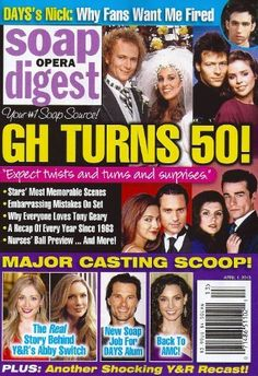 General Hospitals 50th Anniversary Issue, Anthony Geary, Genie Francis - April 1, 2013 Soap Opera Digest