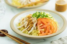 Hiyashi Chuka (Cold Ramen) with Sesame Miso Sauce 冷やし中華 胡麻味噌ダレ Veggie Recipes, Asian Recipes, Cooking Recipes, Ethnic Recipes, Bento Recipes, Veggie Meals, Asian Foods, Recipies, Cold Noodles