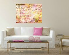 Love You Forever PRINT in pastel pinks & yellows. by Key2MyArt