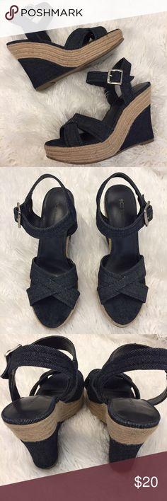 BCBG Generations Denim Espadrilles These shoes are in great condition! No marks! Adjustable ankle strap. Size 7B. True to size. Non-smoking pet free home.  1 inch platform. 4 1/2 inch heel.                                                            🔹suggested user • fast shipper🔹                       🔸bundle to save 15%🔸 BCBGeneration Shoes Espadrilles
