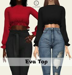 Sims 4 CC's - The Best: Eva Top by LumySims - Annett Herrler - Frauentaschen Sims 4 Teen, Sims Cc, Sims Mods, Dressy Tops, The Sims 4 Cabelos, Sims4 Clothes, Sims 4 Dresses, Best Sims, Sims 4 Cc Packs