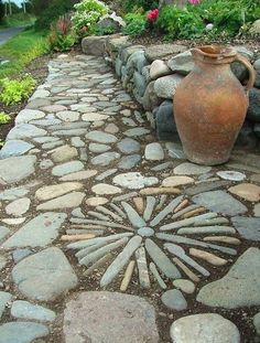 Pebble art pathway