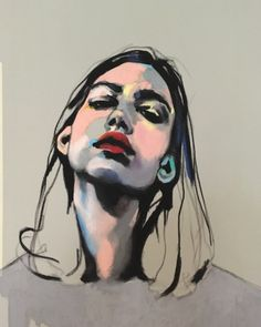 "Image of ""Thursday"" Oil Pastel on Paper, Portrait, by Swedish artist Emma Tingård"