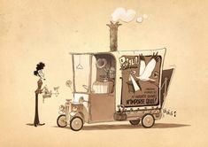"A Monster in Paris by Christophe ""ZEBE"" Lourdelet Prop Design, Design Art, Set Design, Storyboard Artist, Film D'animation, Character Design Animation, Visual Development, People Art, Art Background"