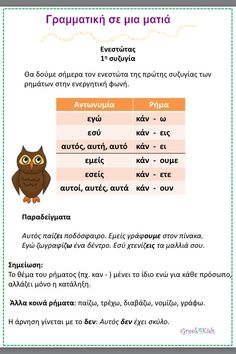 Greek Language, Second Language, Greek Phrases, Learn Greek, Kids Corner, Lessons For Kids, Grammar, Teacher, Education