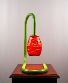 Table Lamp, Lime Green, Gooseneck Table Lamp, Browns and Reds Blown Glass, Artisan Lamps, J Garloff Design, Decorative Lamps, Lighting by JGarloffDesign on Etsy
