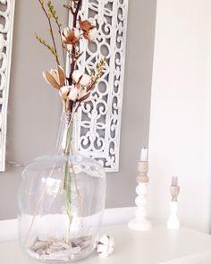 Herfst/ winter decoratie. Xxl glazen vaas