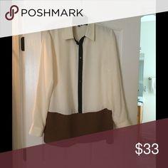 Talbots Tunic Size medium cream black brown tunic style blouse Tops Blouses