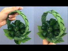 กระเช้าใบเตยดอกกุหลาบตูม | MeeDee DIY - YouTube Diy Flowers, Flower Decorations, Leaf Crafts, Diy Crafts, Leaf Art, Flower Making, Creative Crafts, Basket Weaving, Flower Art