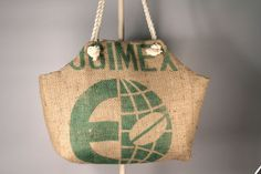 Recycled Burlap Coffee Sack Market Tote  Green by TheGreenBeanBag, $40.00