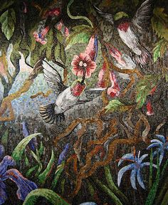 Mosaic hummingbirds. Part of mosaic murals by Dixie Friend Gay at Bush International Airport. Amazing huge mosaic murals. #mosaics