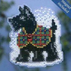 Scottie 2014 Beaded Cross Stitch Kit Mill Hill 2014 Winter Holiday - $5.49