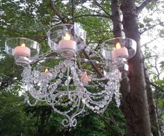 Picture of LED Chandelier - Dollar Store Chic! Chandeliers, Outdoor Chandelier, Diy Chandelier, Chandelier Planter, Chandelier Creative, Chandelier Makeover, Outdoor Porch Lights, Porch Lighting, Outdoor Lighting