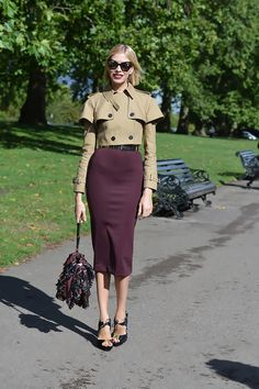 on the streets in London #lfw ~ burgundy midi pencil skirt paired with a cropped military trench coat