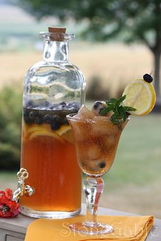 StoneGable Iced Tea Recipe:  1 gallon good cold water (We have good well water. If your water has a funny taste, so will your iced tea. Opt for a jug of bottled water)  6-8 tea bags of good black tea  2 tea bags of herbal fruit tea (raspberry, red zinger, peach are some favorites)  1/2 container of Crystal Light Lemonade for 1 pitcher  1/4 cup Splenda      Pour water into a large pitcher. Add tea bags. Let steep on the counter for 3-6 hours or out in the sun for 2-3 hours. It really depends…