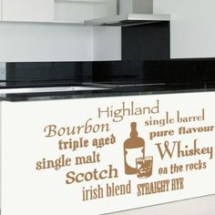 """Style and Apply Whiskey Variations Wall Decal Size: 21"""" H x 31"""" W, Color: Black"""