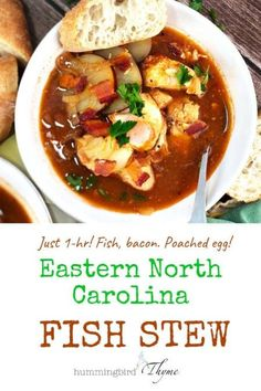 North Carolina Fish Stew – Hummingbird Thyme Eastern North Carolina Fish Stew – Slow-cooked flavor in just 60 minutes! This stew has it all – whitefish, crispy bacon, potatoes, a rich tomato broth, and BONUS – an egg on top! Seafood Stew, Fish And Seafood, Seafood Party, Seafood Recipes, Soup Recipes, Catfish Recipes, Oven Recipes, Cooker Recipes, Seafood