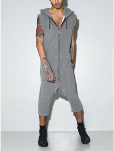 hooded short romper grey