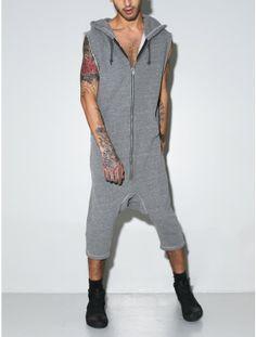 hooded short romper grey