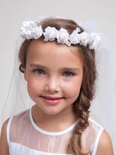 This floral wreath communion veil is one size fits all for girls. Only available in White. This floral wreath communion veil for girls is accented with Pearls and Rhinestones. First Communion Veils, Communion Dresses, First Holy Communion, White Tea Length Dress, Communion Hairstyles, Short Veil, Flower Dresses, Headdress, Short Hair Styles